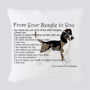 A Beagle's Letter To You Woven Throw Pillow