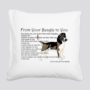 A Beagle's Letter To You Square Canvas Pillow
