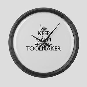 Keep calm and kiss a Toolmaker Large Wall Clock