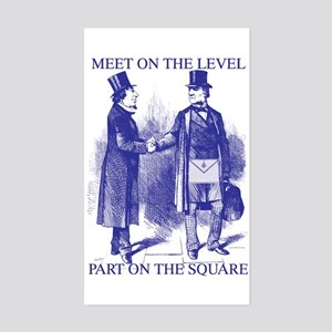Meeting On the Level - Masonic Blue Sticker (Rect