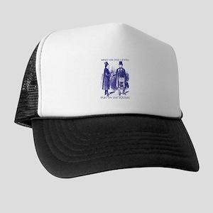 69ef7eea2a8 Meeting On the Level - Masonic Blue Trucker Hat
