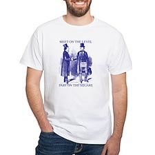Meeting On the Level - Masonic Blue White T-Shirt