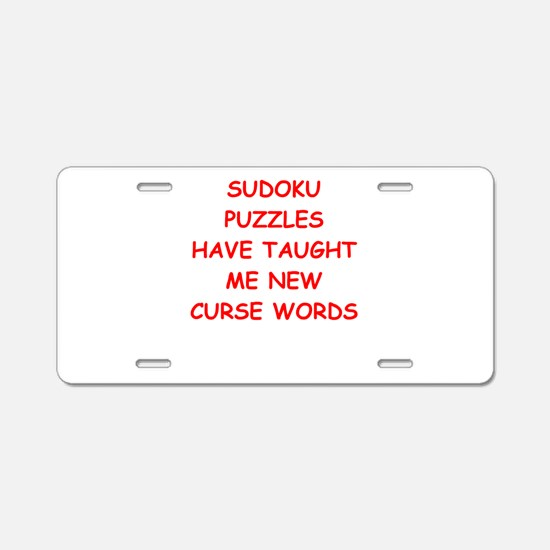 i love sudoku Aluminum License Plate