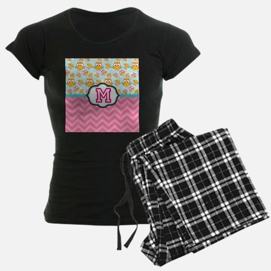 Pink Chevron Owls Monogram Pajamas