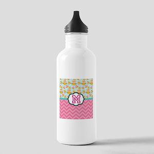 Pink Chevron Owls Monogram Water Bottle