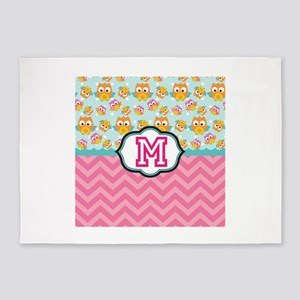 Pink Chevron Owls Monogram 5'x7'Area Rug