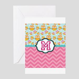 Pink Chevron Owls Monogram Greeting Cards
