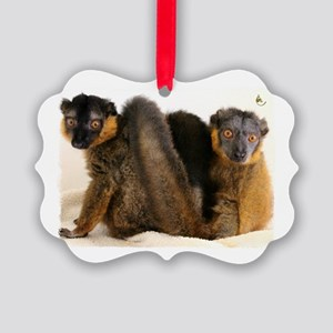 Collared Lemur Holiday Picture Ornament