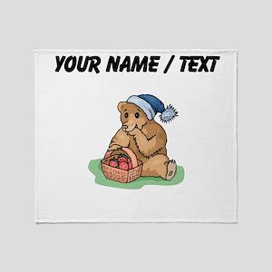 Custom Bear Eating Strawberries Throw Blanket