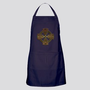Green Four Triquetra Cross by Bluesax Apron (dark)