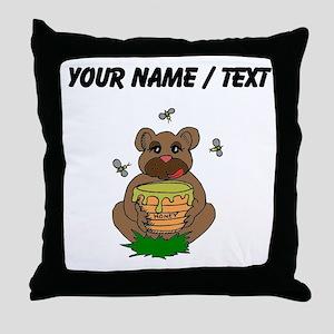 Custom Bear And Honey Throw Pillow