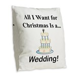 Christmas Wedding Burlap Throw Pillow