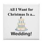 Christmas Wedding Tile Coaster