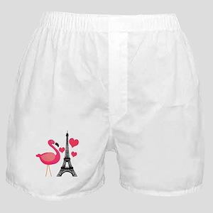 Pink Flamingo in Paris Boxer Shorts