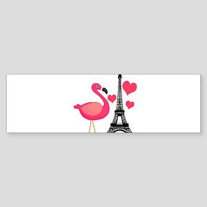 Pink Flamingo in Paris Bumper Sticker
