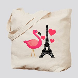 Pink Flamingo in Paris Tote Bag