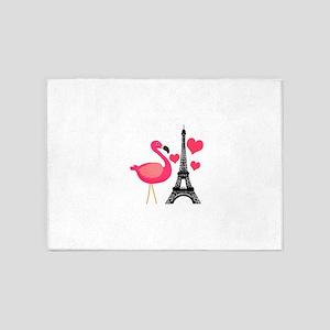 Pink Flamingo in Paris 5'x7'Area Rug