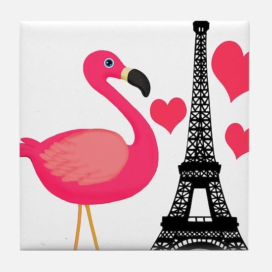 Pink Flamingo in Paris Tile Coaster