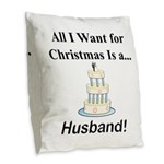 Christmas Husband Burlap Throw Pillow