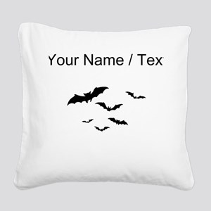 Custom Bats Flying Square Canvas Pillow