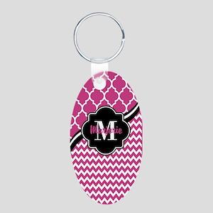 Pink and Black Quatrefoil C Aluminum Oval Keychain