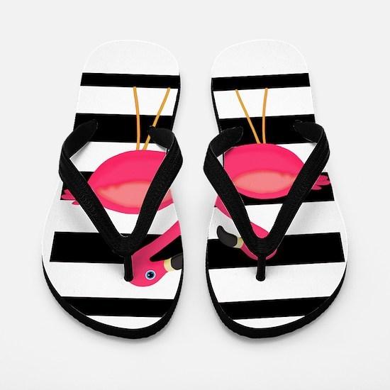 Pink Flamingoes Black Stripes Flip Flops