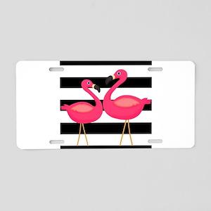 Pink Flamingoes Black Stripes Aluminum License Pla
