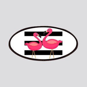 Pink Flamingoes Black Stripes Patches