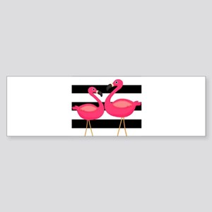 Pink Flamingoes Black Stripes Bumper Sticker