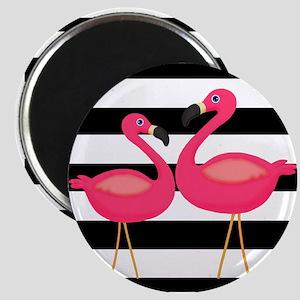 Pink Flamingoes Black Stripes Magnets