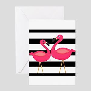 Pink Flamingoes Black Stripes Greeting Cards