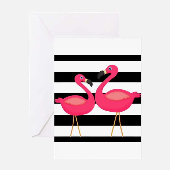 Pink Flamingoes Black Stripes Greeting Cards