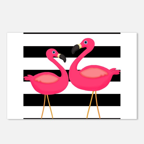 Pink Flamingoes Black Stripes Postcards (Package o