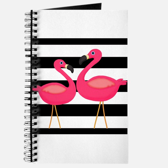 Pink Flamingoes Black Stripes Journal