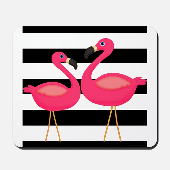Pink Flamingoes Black Stripes Mousepad