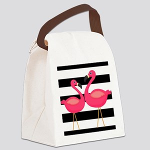Pink Flamingoes Black Stripes Canvas Lunch Bag