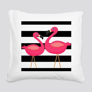 Pink Flamingoes Black Stripes Square Canvas Pillow