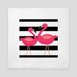 Pink Flamingoes Black Stripes Queen Duvet