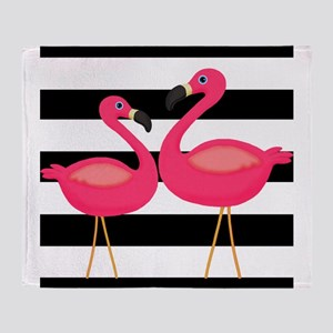 Pink Flamingoes Black Stripes Throw Blanket