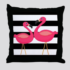 Pink Flamingoes Black Stripes Throw Pillow
