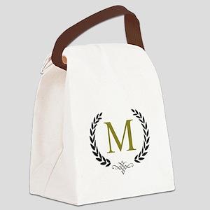 Gold Monogram with Laurels Canvas Lunch Bag
