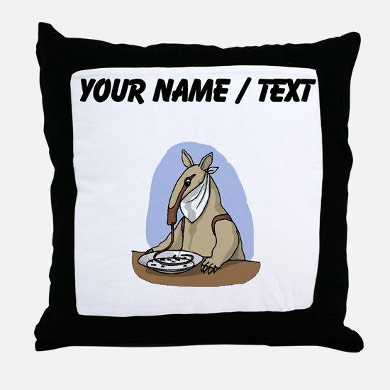Custom Anteater Eating At Table Throw Pillow