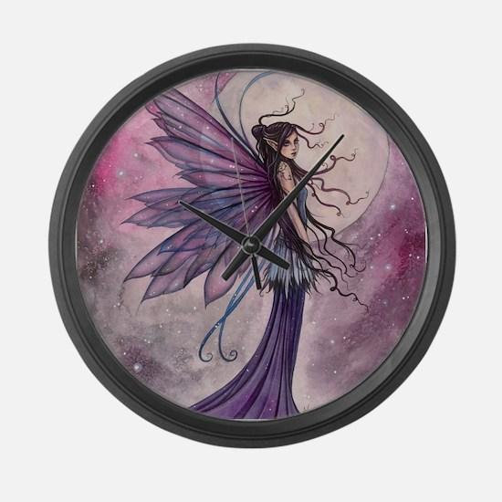 Starlit Amethyst Fairy Art Large Wall Clock