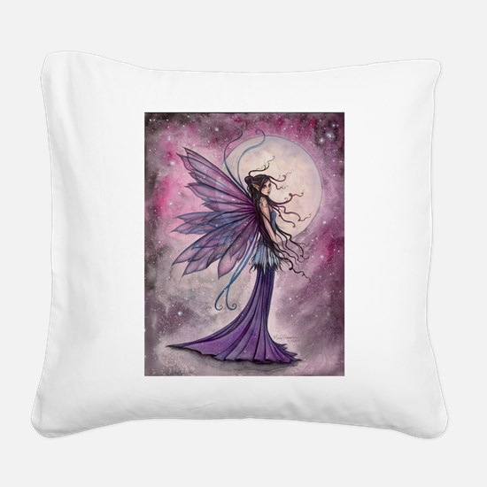 Starlit Amethyst Fairy Art Square Canvas Pillow