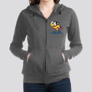 Mighty Mouse Here I Come Women's Zip Hoodie