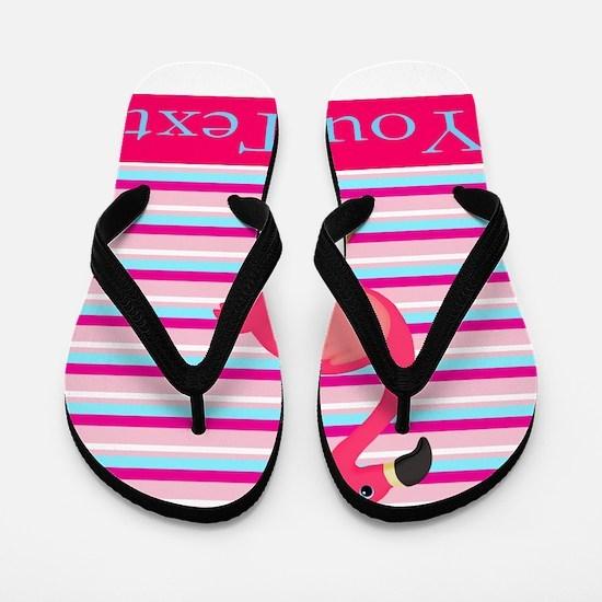 Personalizable Pink Flamingo Stripes Flip Flops