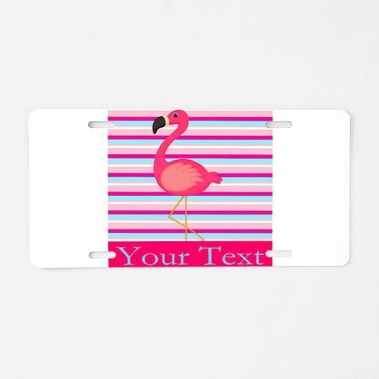 Personalizable Pink Flamingo Stripes Aluminum Lice
