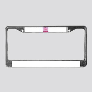 Personalizable Pink Flamingo Stripes License Plate