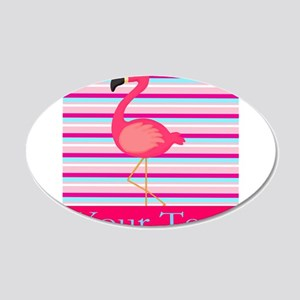 Personalizable Pink Flamingo Stripes Wall Decal
