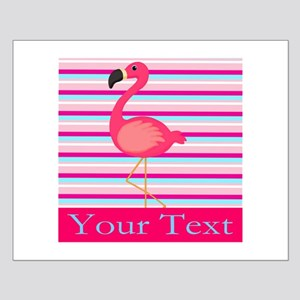Personalizable Pink Flamingo Stripes Posters